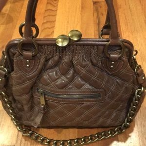 Brown Marc Jacobs quilted Stam leather purse
